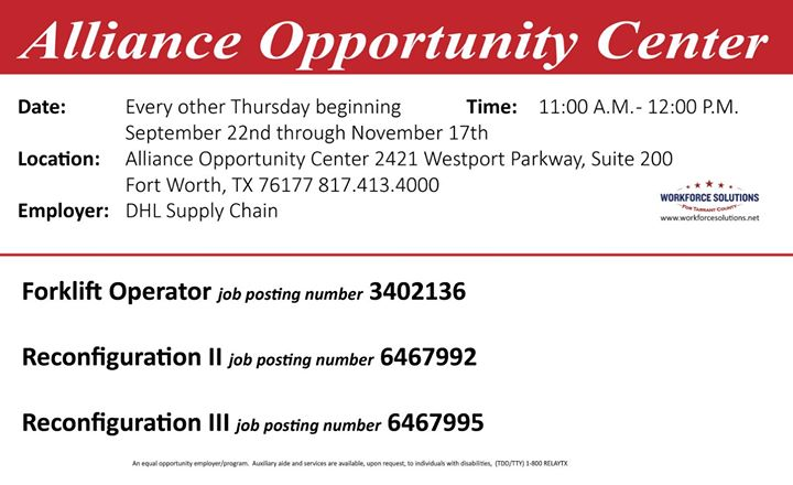 Dhl Supply Chain Hiring Event At 2421 Westport Pkwy Fort Worth Tx