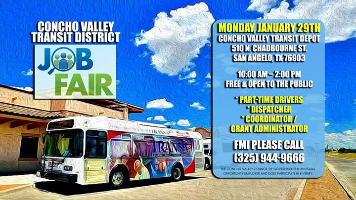 Concho Valley Transit District Job Fair At 510 N Chadbourne St San