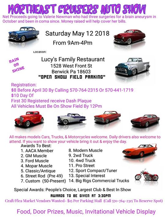 Northeast Cruisers Auto Show At 1528 West Front Street Berwick Pa