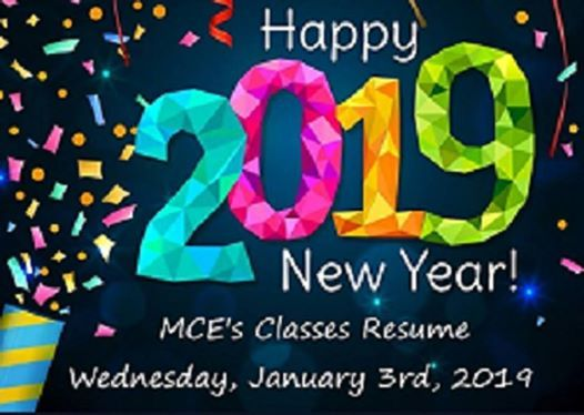 Classes Resume Wednesday January 3rd 2019 At Montgomery City