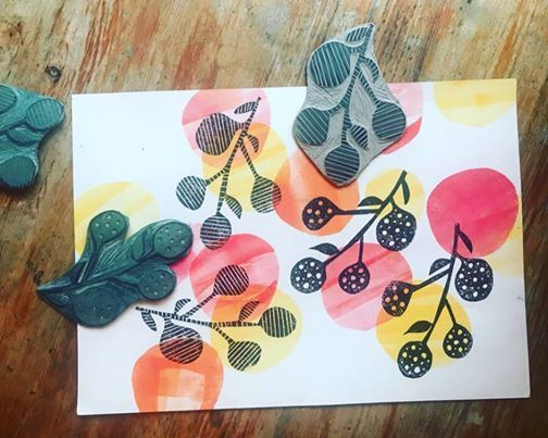 Collaborative Print Weekend Printing with Stencils and Lino