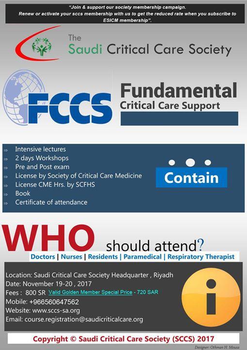 Fccs At Saudi Critical Care Society Riyadh