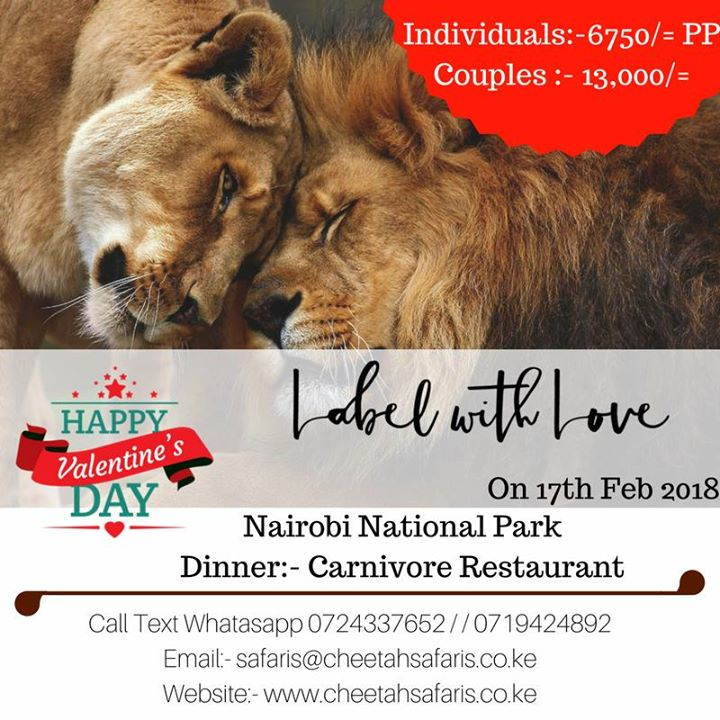 Post Valentines Wild Couples Dinner - 6750 per person