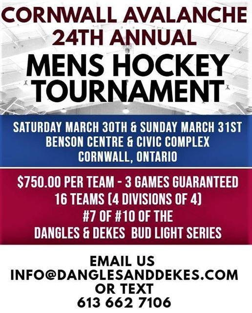 Cornwall Avalanche 24th Annual Mens Hockey Tournament