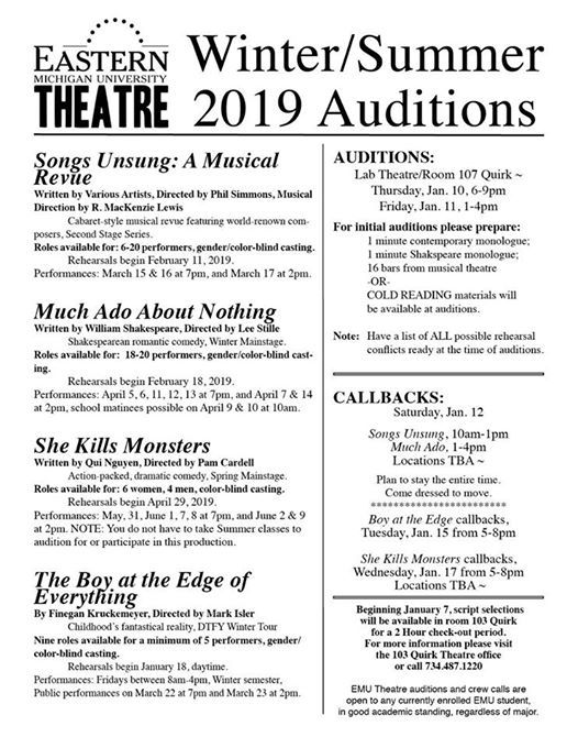 2019 EMU Theatre Winter/Summer Auditions at Eastern Michigan