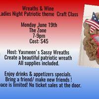 Wreaths &amp Wine Ladies Night Patriotic Class