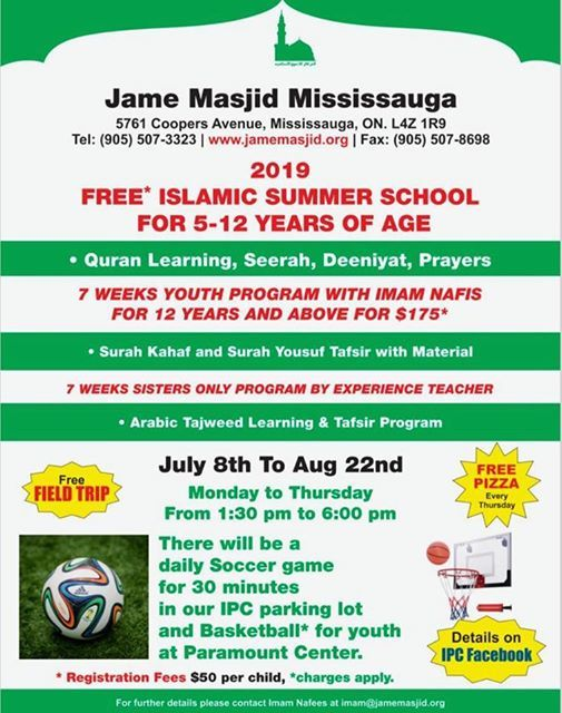 JMM Summer Program 2019 at Jame Masjid Mississauga, Brampton