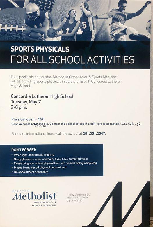 Houston Methodist Sports Physicals at Concordia Lutheran