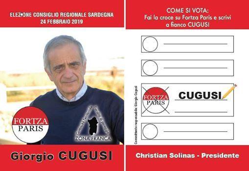 Elezioni Regionali 2019. Fortza Paris Giorgio Cugusi