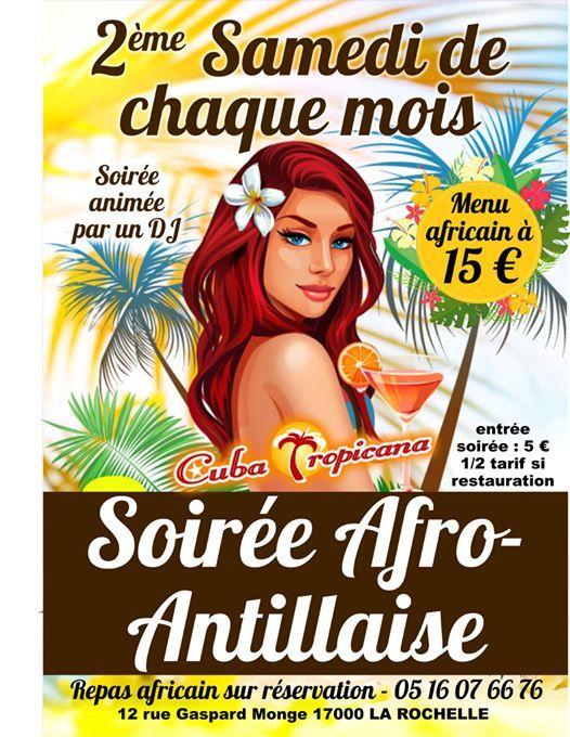 Soire Afro antillaise avec repas africain  La Rochelle