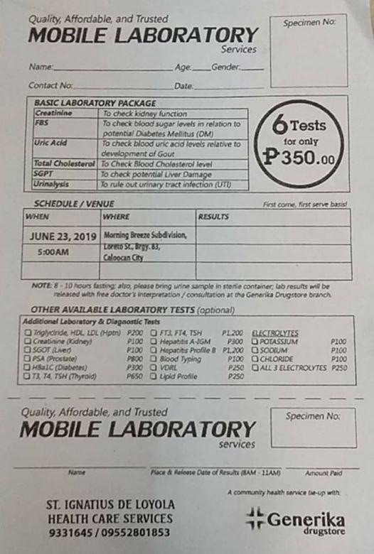 Mobile Laboratory at Loreto Street MBS Caloocan City, Quezon