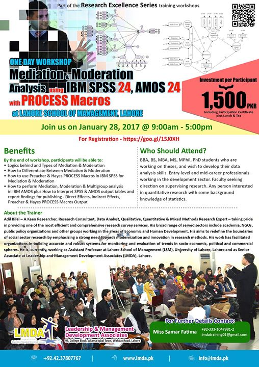 One Day Workshop on Mediation & Moderation Analysis- SPSS