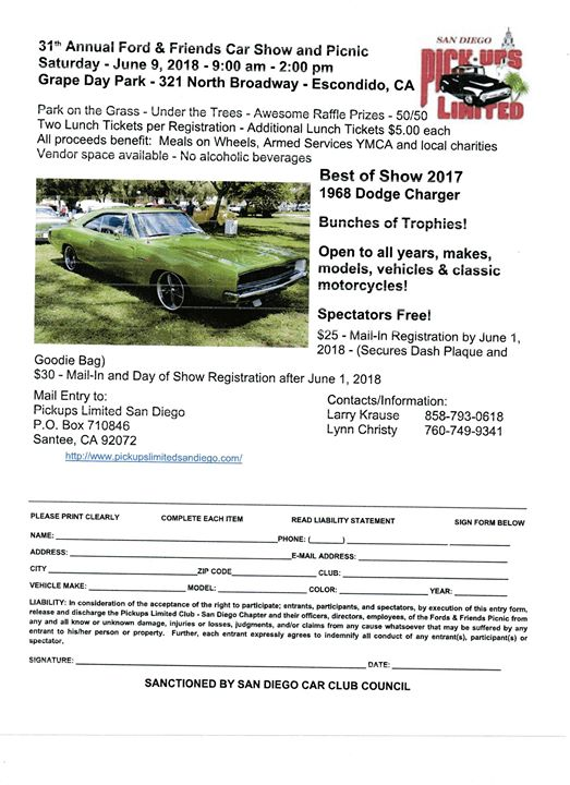 St Annual Ford Friends Car Show At Friends Of Grape Day Park - San diego car show 2018