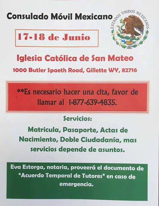 Consulado Movil Mexicano at ministerio hispano gillette wy, Gillette