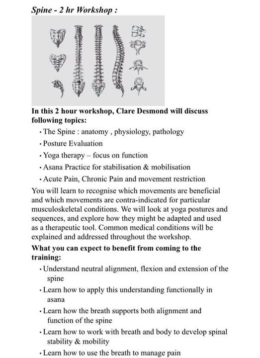 Back pain workshop with Clare Desmond.