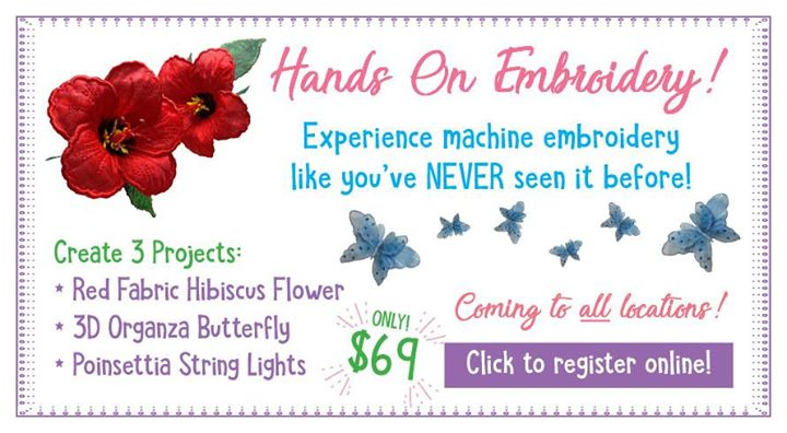 Hands On Embroidery Day With Zandra At B Sew Inn Tulsa