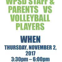 WPSD girls varsity volleyball team vs. parents &amp staff