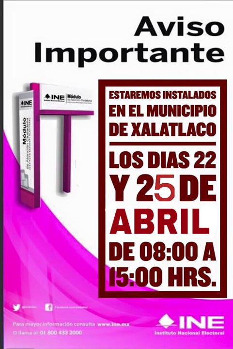 Módulo Del Ine At Ayuntamiento De Xalatlaco Xalatlaco