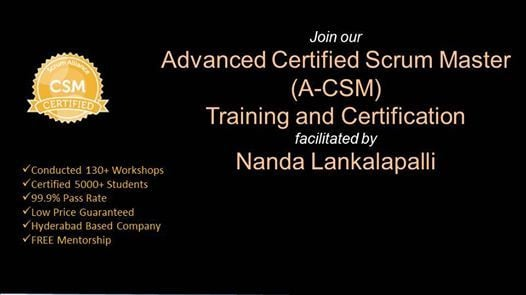 A-CSM Training Certification in Pune on 07-08 February 2019