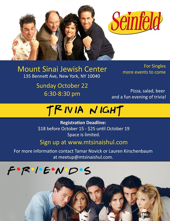 Seinfeld and Friends TV Show Trivia Night at Mount Sinai
