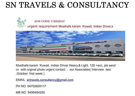 Urgent Requirement - Mosthafa karam Kuwait  Indian Driver,s at Sn