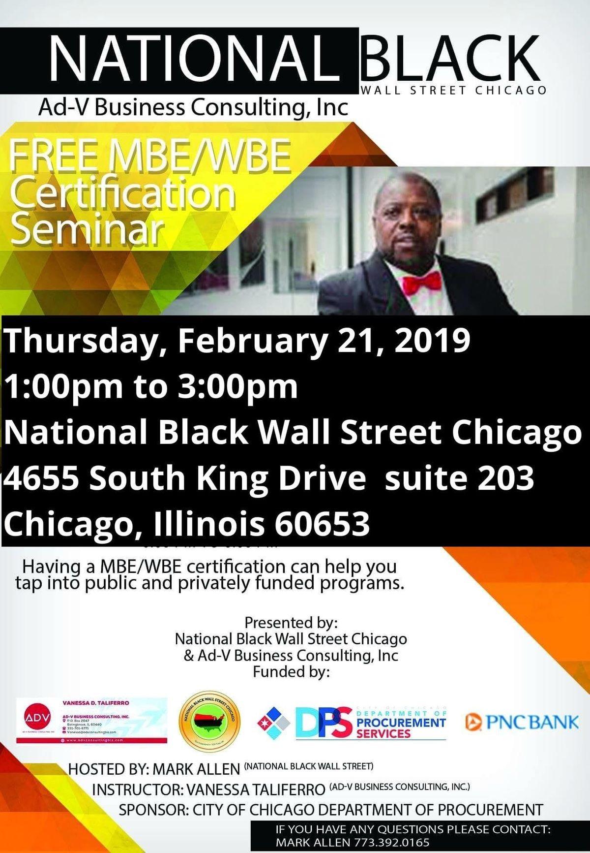 Free Mbe Wbe Certification Seminar At National Black Wall Street