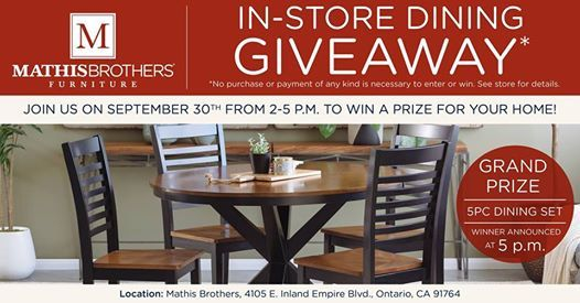 In Store Dining Giveaway At Mathis Brothers Furniture (Ontario, CA),  California