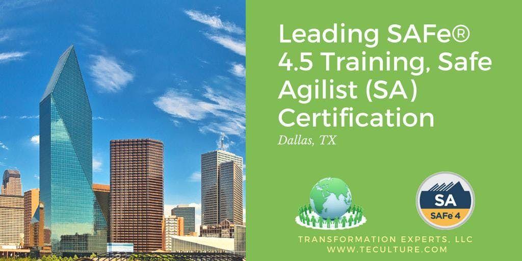 Leading Safe 45 Training Safe Agilist Sa Certification Dallas
