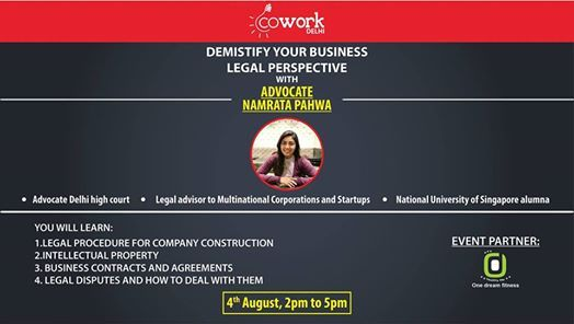 Start Up Legal Requirements With Namrata Pahwa At Cowork Delhi New
