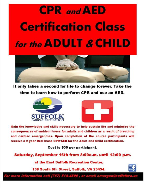Cpr Aed Certification Class At East Suffolk Recreation Center Suffolk