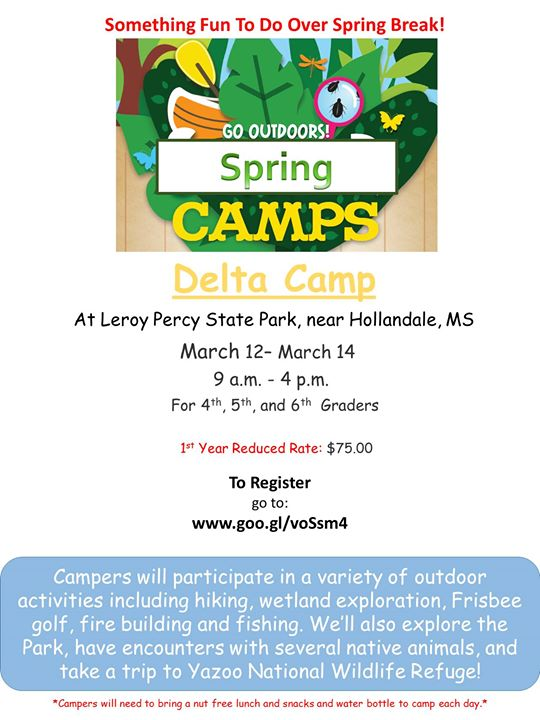 Go Outdoors Delta Spring Break Camp At Leroy Percy State
