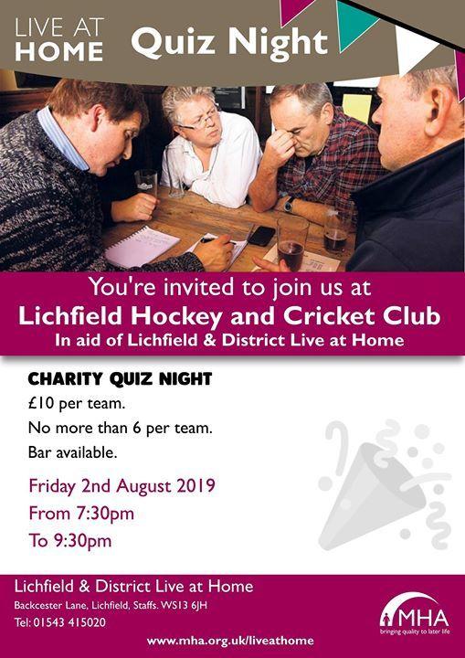 Live At Home Charity Quiz Night Lichfield