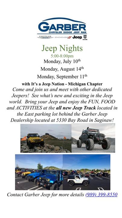 Garber Bay Road >> Jeep Nite At Garber Chrysler Dodge Jeep Ram Saginaw
