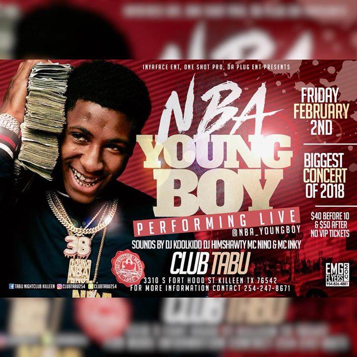 NBA YoungBoy Performing Live Feb 2nd  Club Tabu in Killeen Tx