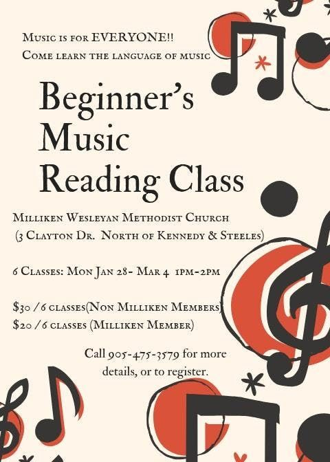 Beginners Music Reading Class (Markham)