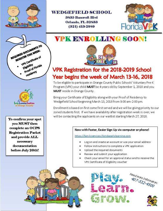 VPK Registration at Wedgefield School, Orlando