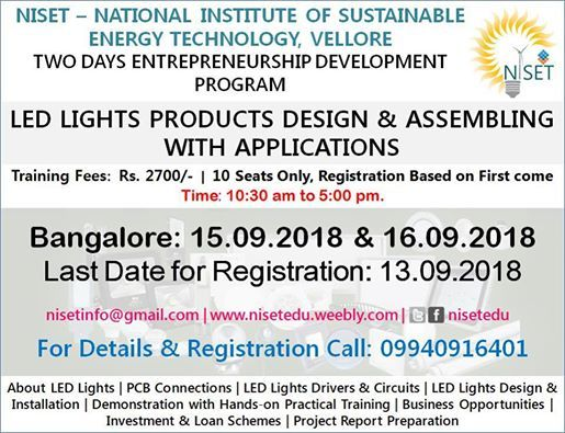Two Days LED Lights Design Assembling with Applications Training
