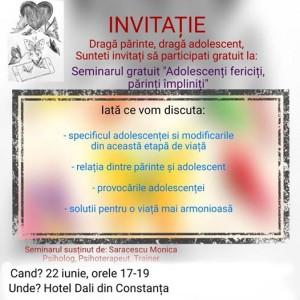 Seminar Adolescenti fericiti Parinti impliniti
