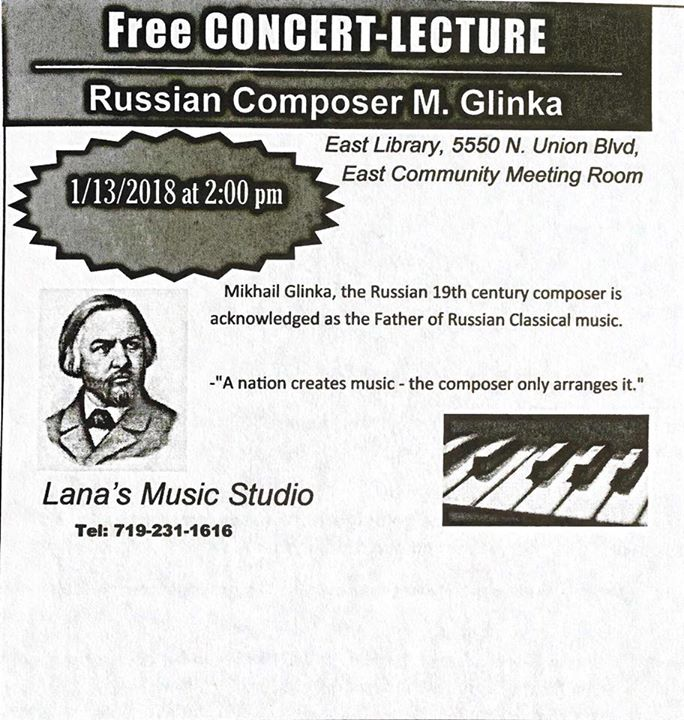Free Concert Lecture About Russian Composer MGlinka