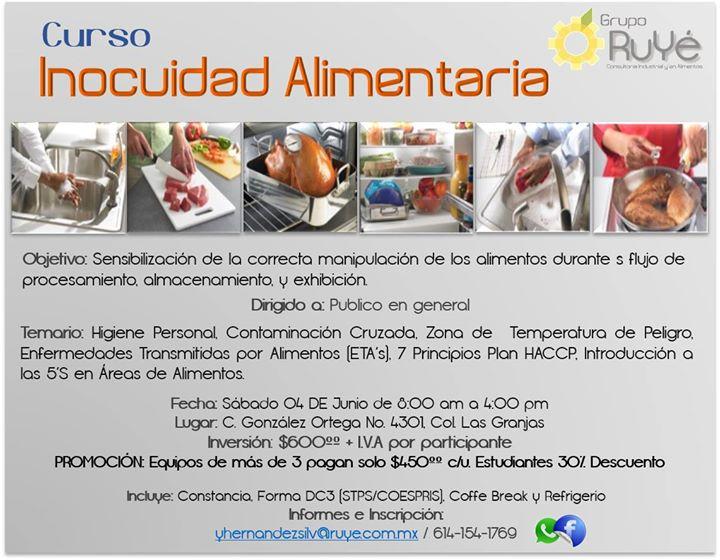 Curso inocuidad alimentaria at ruy consultoria industrial y en alimentos chihuahua - Temario curso manipulador de alimentos ...
