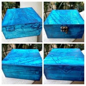 Faux denim look on wooden box