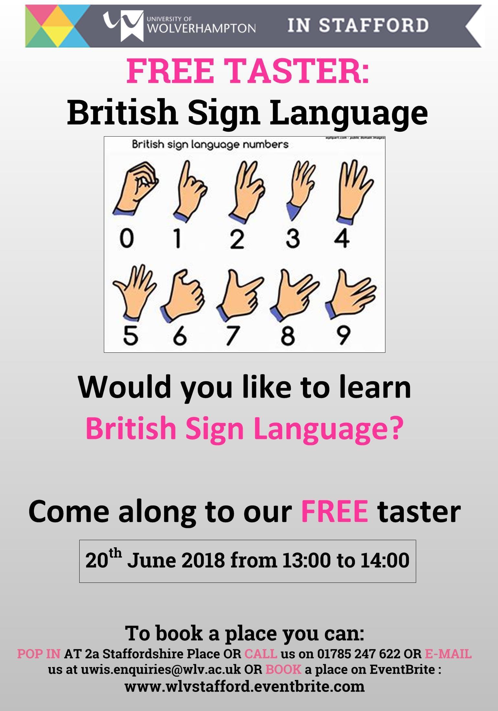 FREE EVENING TASTER - Learn British Sign Language