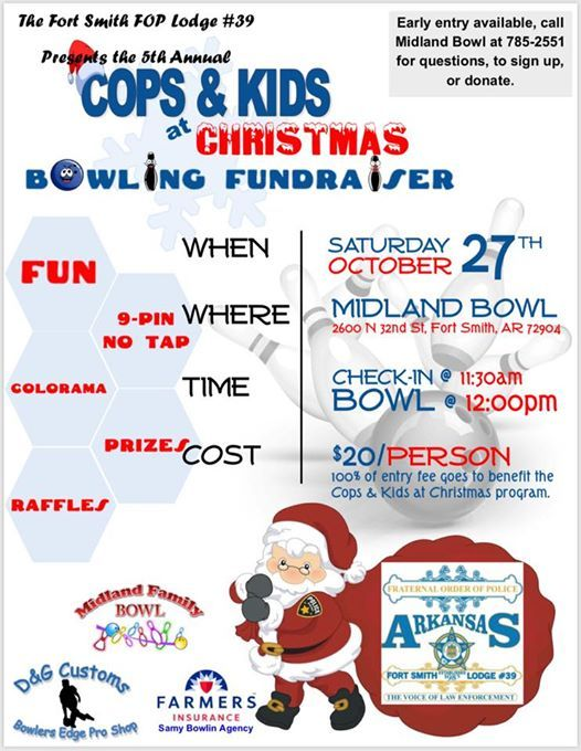 cops kids at christmas bowling fundraiser fort smith