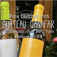 Wine Tasting with Chateau Qanafar - Wednesday July 26