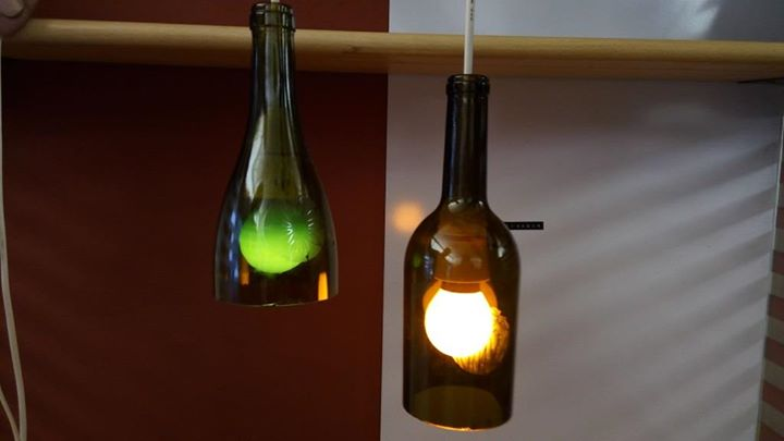 Bottle cutting and upcycling into a lamp
