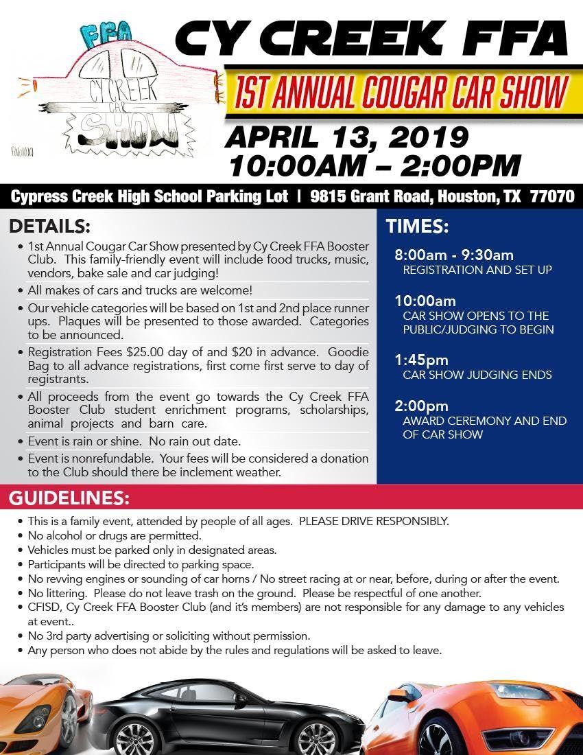 Cy Creek FFA Cougar Car Show at 9815 Grant Rd, Houston