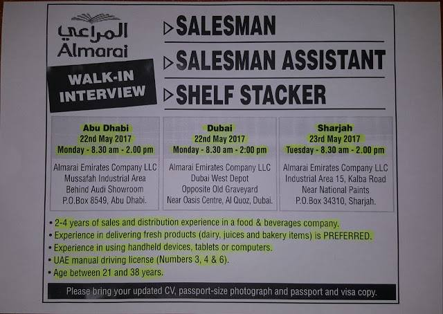 Almarai Walk In Interview For Sales Jobs At Oasis Centre Dubai