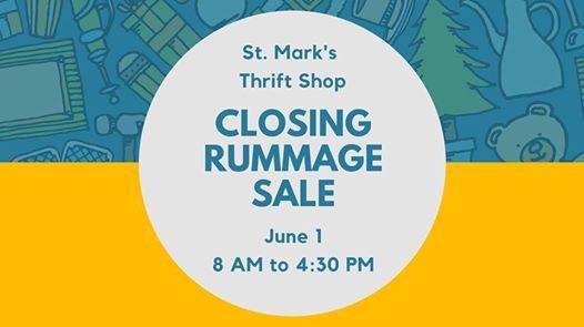 Thrift Shop Closing Rummage Sale at St  Mark's Episcopal Church