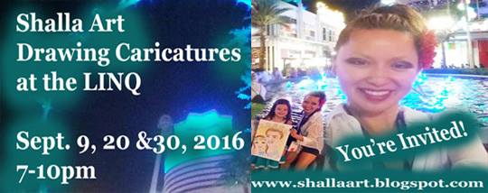 Shalla Art Caricatures at the LINQ (by the fountains)