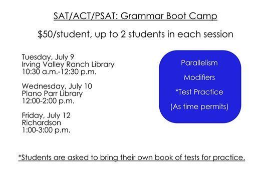 SAT Grammar Boot Camp at Richardson Public Library, Richardson